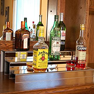 KegWorks 3-Tier Liquor Bottle Step Shelf - Mirror Finish - 24 Inches long