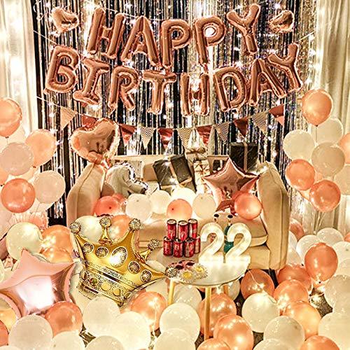 Oro rosa para adultos, juego de decoración romántica para fiestas de cumpleaños, guirnalda de luces, 60 unidades