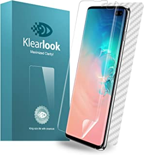 Galaxy S10 Plus Screen Protector, Klearlook S10+ Liquid Skin Full Coverage HD Anti-Bubble Screen Protector for Galaxy S10 Plus [Case Friendly][2 Front+1 Back Pack] Clear Film
