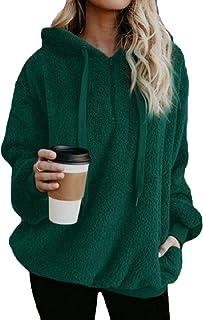 Sodossny-AU Womens Casual Jumper Fleece Tops Hoodies Loose Fit Pullover Sweatshirts