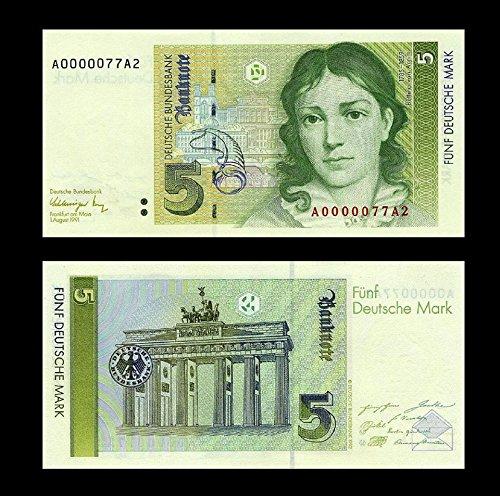 *** 2 Stück 5 Deutsche Mark Geldscheine 1991 Alte Währung - Reproduktion ***