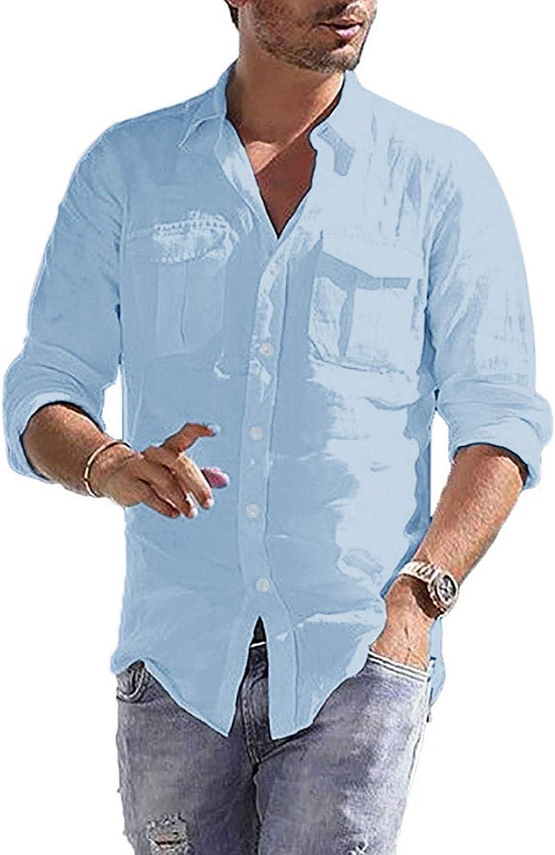 Aayomet Men's Cotton Linen Shirts Casual Long Sleeve Button Down T-Shirt Baggy Loose Yoga Sport Beach Tee Shirts Tops