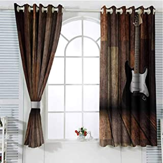 Popstar Party Sliding Door Curtains for Living Room Electric Guitar in The Wooden Room Country House Interior Music Theme Room Darkening Curtains Room Decor W72 x L84 Inch Brown Black White