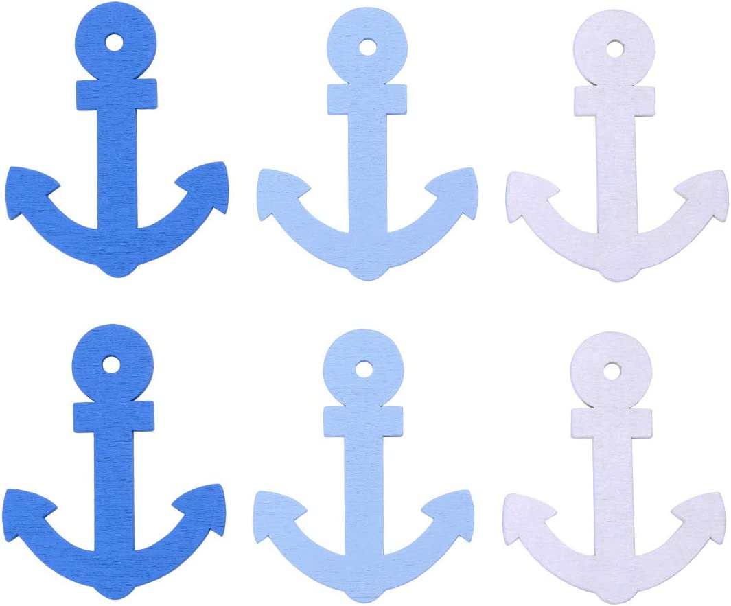 Healifty 60pcs 67% OFF of fixed price Wooden Anchor SALENEW very popular Pattern Pendants Home Wall Decorati