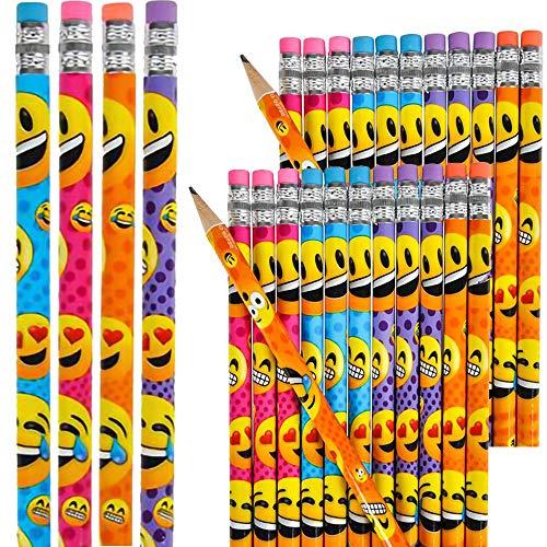 絵文字鉛筆 学校用品 子供への賞品 誕生日景品 パーティーの記念品 7.5インチ鉛筆 24-Pack