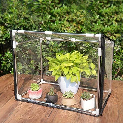 Pequeño invernadero de plantas de balcón mini cobertizo de aislamiento térmico con estante de acero inoxidable,carpa de invernadero de crecimiento transparente de PVC portátil interiores y exteriore