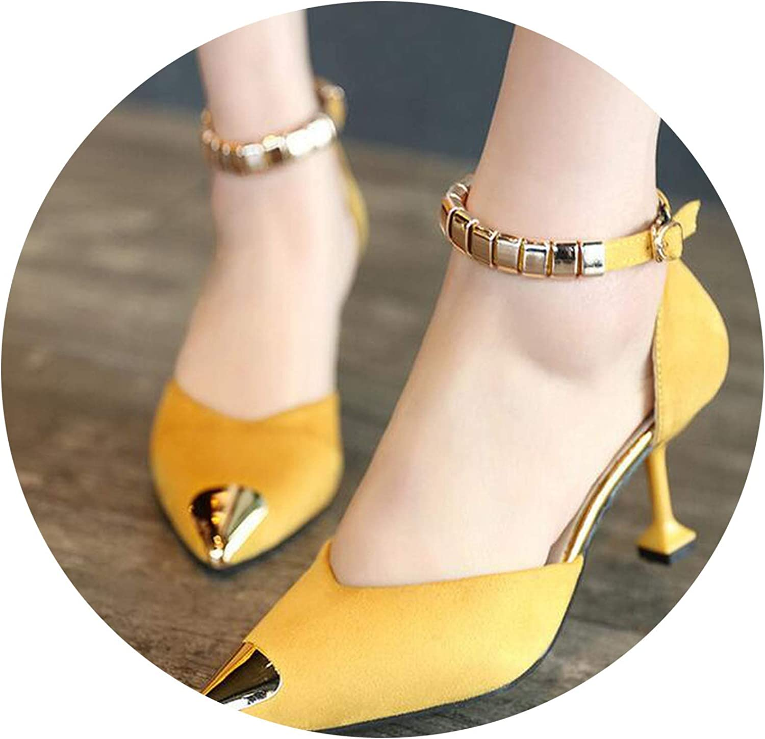 Women Pumps Sexy Buckles High Heels shoes Metal Pointed Toe Wedding shoes Party Women shoes