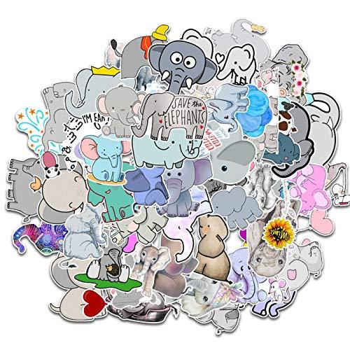XIANYING Etiqueta engomada Linda del Elefante a Prueba de Agua Pegatinas de Animales de Dibujos Animados para el Coche portátil teléfono Bicicleta Maleta calcomanía Regalo para niños 50 unids/Lote