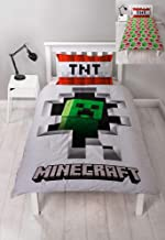 Minecraft Dynamite Single Duvet Cover Officially Licensed Reversible Two Sided Creeper Design with Matching Pillowcase, Polyester, White, Green, Red