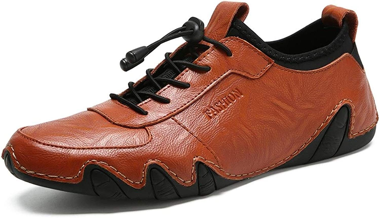 Fashion Sneakers for Men Walking shoes with Elastic Lock shoeslaces Casual Slip On Round Toe Leather Upper Anti-Slip Lightweight Cricket shoes (color   Reddish Brown, Size   8 UK)
