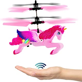 Strivy Unicorn Toys for Girls 6 Years Old,Flying Toy Hand Controlled Unicorn Helicopter Doll