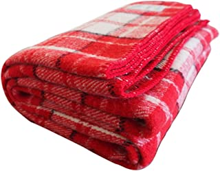 Woolly Mammoth Woolen Company Farmhouse Collection Thick Warm Wool Blanket. The Perfect complement to Your Country Home Decor. Use as Oversized Throw or Additional Layer on The Bed   Red Cream Black