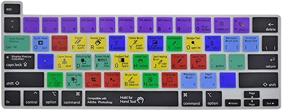 محافظ پوشش صفحه کلید Photoshop Keyboard Cover Skin Photoshop Adobe Shortcuts Key Silicone Keyboard for MacBook Pro 16 inch 2019 Model A2141،2020 MacBook Pro 13 inch A2289 / A2251 with Touch Bar and Touch ID