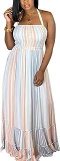 Women's Colorful Striped Chiffon Halter Neck Maxi Long Dress