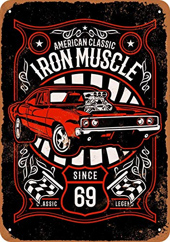 Scott397House Metal Tin Sign, Iron Muscle Classic Cars Since 1969 (Black Background) Vintage Wall Plaque Man Cave Poster Decorative Sign Home Decor for Indoor Outdoor Birthday Gift 8x12 Inch