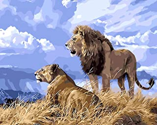Lmqzzh DIY No Frame Digital Painting by Numbers Lion King Simba Animal Digital Modern Wall Art Canvas Painting Gift for Children Home Decor 40X50Cm