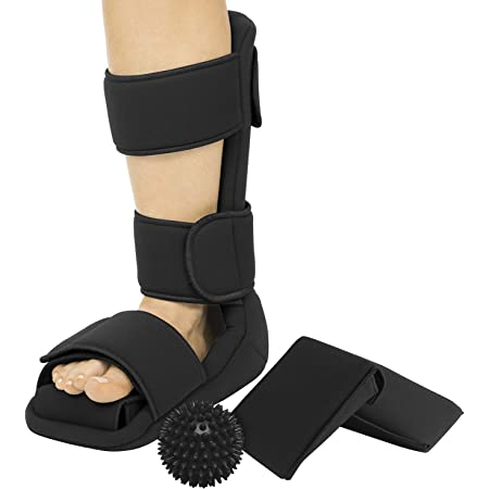 Vive Plantar Fasciitis Night Splint Plus Trigger Point Spike Ball - Soft Leg Brace Support, Orthopedic Sleeping Immobilizer Stretch Boot (Small: Men's: Up to 5, Women's: Up to 6.5)