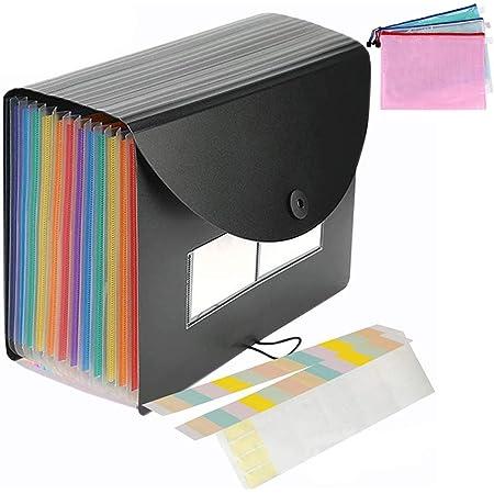 MonQi 24 Bolsillos Expandible Clasificadores Carpetas de Acordeón con Capa + 3 * Bolsa de Archivo de cremallera para A4 Documento,Expandible Carpetas Archivadoras, Rainbow Carpeta Clasificadora