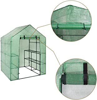 Walk-in Greenhouse 3 Tier 6 Shelves with PE Cover and Roll-Up Zipper Door, Waterproof Cloche Portable Greenhouse Tent-56L x 28W x 75H Inches, Grow Seeds