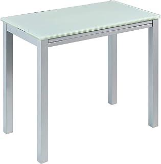 MOMMA HOME Mesa de Cocina Extensible - Modelo Londres - Color Blanco/Plata - Material Cristal Templado/Metal - Medidas 95 ...