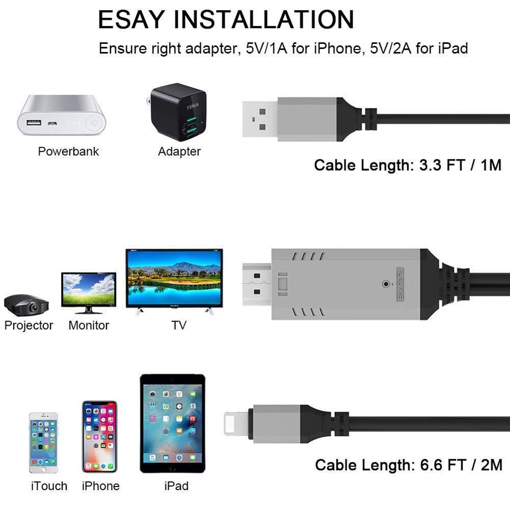 iBâste Cable Adaptador HDMI Full HD 1080p para iPhone/iPad: Amazon ...
