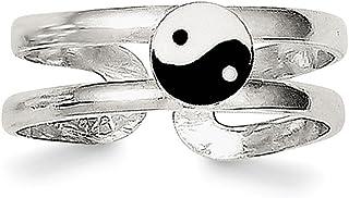 Lex & Lu Sterling Silver Enameled Yin Yang Toe Ring