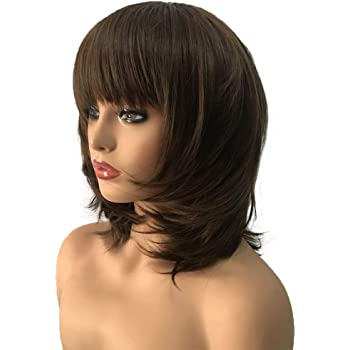 Amazon Com Aimole Women Synthetic Wig Medium Length Straight Hair Flat Bangs Dark Brown Medium Auburn Layered Haircut Natural Wigs Beauty
