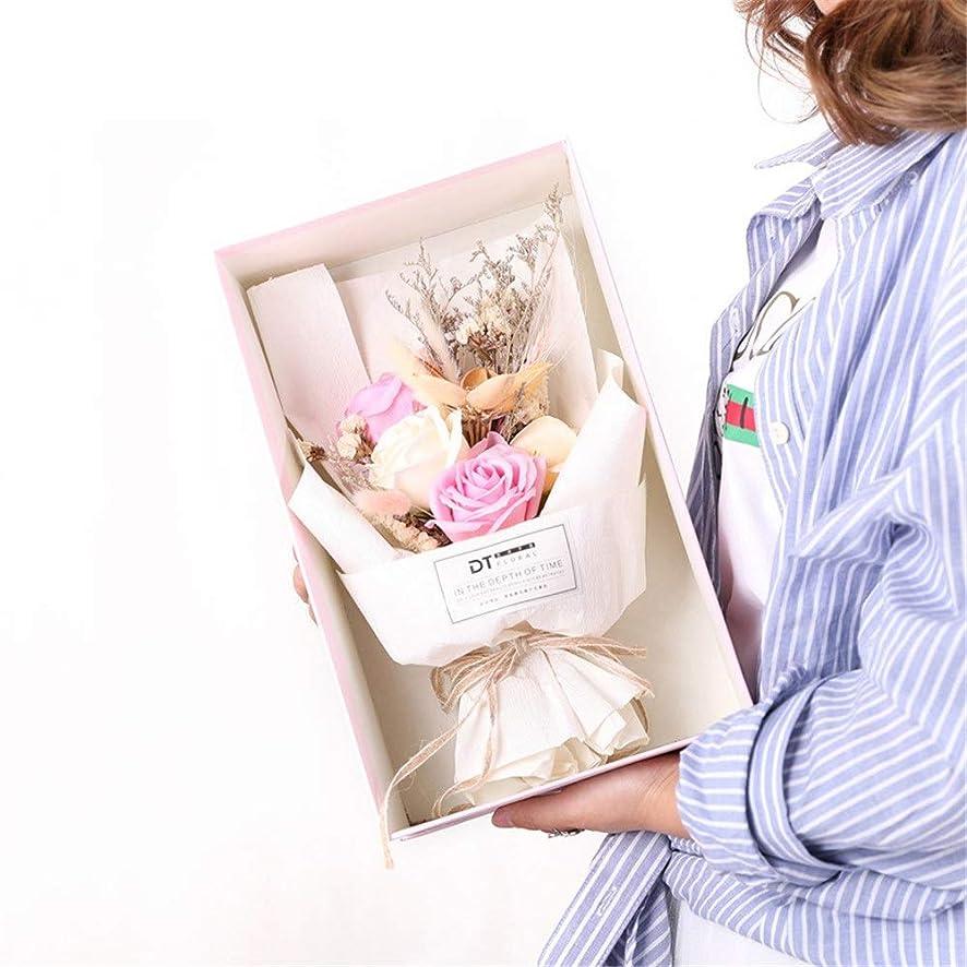 と遊ぶありふれた上へ手作りのバラ石鹸フラワーブーケのギフトボックス、女性のためのギフトバレンタインデー、母の日、結婚式、クリスマス、誕生日を愛した女の子 (色 : ピンク)