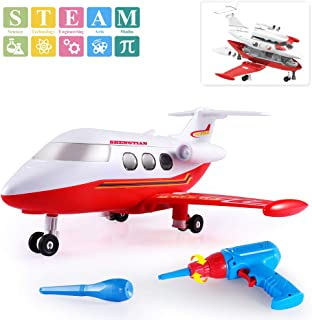 TEMI Take Apart Toys Airplane, STEM Construction Toys Kit with Realistic Sounds & Lights, Educational Playset Battery Operated Drill & Tools for Kids Boys Girls 3 Yrd and up - Build Your Own Aircraft