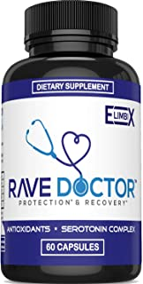 Vegan Rave & Festival Hangover Prevention   Rave Supplement   Rave Pills   Antioxidant Supplement   5-HTP   Serotonin Boost   Mood Boost   Hangover Cure   Party Smart with Recovery Supplements