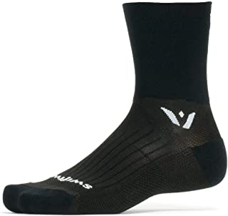 Swiftwick- Performance Four | Trail Run and Cycling Crew Socks | Fast Dry, Lightweight