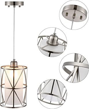 Adcssynd Modern Pendant Light Fixtures, Glass Pendant Lighting for Kitchen Island, Mini Pendant Lights Brushed Nickel, Cylind