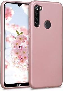kwmobile Funda Compatible con Xiaomi Redmi Note 8T - Carcasa móvil de Silicona - Protector Trasero en Oro Rosa Metalizado