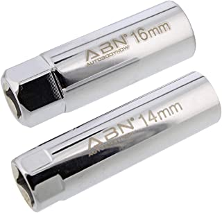 ABN 3/8 Inch Drive 14mm 16mm Metric Spark Plug Socket Set Thin Wall 12 Pt Spark Plug Tool Set with Spring Clips, 2pc Kit