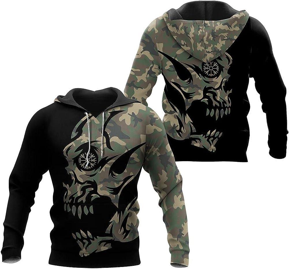 Viking Skull Vegvisir Tattoo Hoodie for Men, Long Sleeve Sweatshirt Fall Jacket Nordic Pullover Gift Ideas