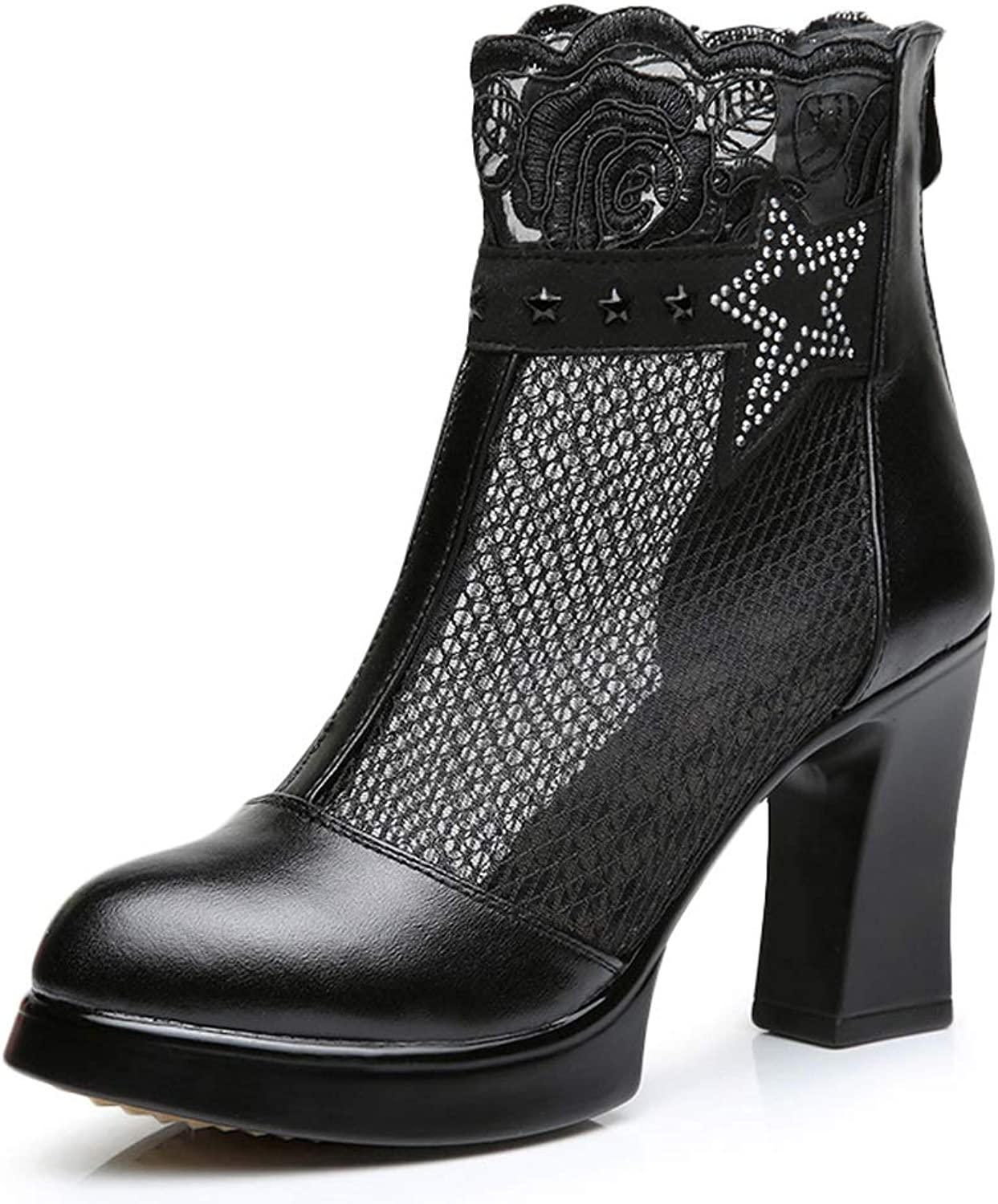 TARSHIN Single shoes Spring and Autumn Women's Net Boots Hollow High-Heeled Spring and Autumn Mesh Yarn Boots Mesh Boots