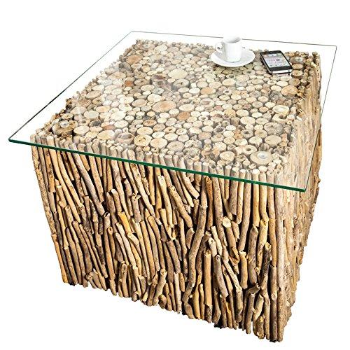 *Exklusiver Treibholz Couchtisch FOSSIL Teak Elemente in Handarbeit gefertigt mit Glasplatte Tisch Holztisch*
