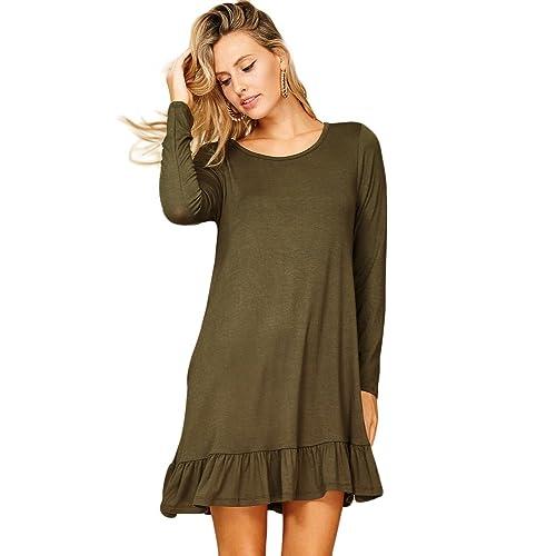 0f6b4c897189 Annabelle Womens Round Neck Long Sleeve Ruffle Hem Pocket Dresses