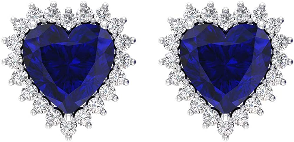 3 Ct Lab Created Blue Sapphire Stud Earring, Heart Shape Gemstone Earring, SGL certified Diamond Halo Earring, HI-SI Color Clarity Diamond Wedding Earring, Screw Back