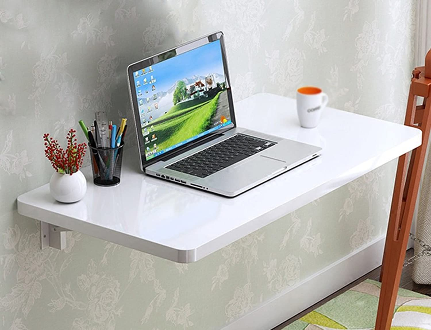 Djyyh Wall Table Folding Table Dining Table Computer Desk Desk Learning Work Home White (color   White, Size   60  40 cm)