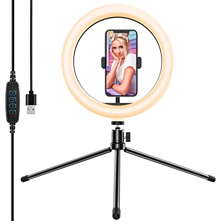 "Yoozon 10"" Luz de Anillo LED fotográfica de Escritorio, 3 Color 10 Brillo, Trípode con Soporte Giratorio de teléfono para Transmisión en Vivo, Selfie, Maquillaje, Videoconferencia, Youtube, TikTok"
