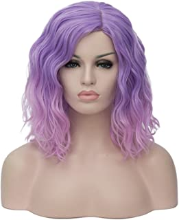 BUFASHION Short Bob Wavy Glue Less Synthetic Hair Wig Heat Resistant Middle Parting, Ombre/Light Purple/Pink