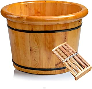Qing MEI Foot Tub, Household Wood Thickened Footbath Foot Bath Barrel, No Cover A++