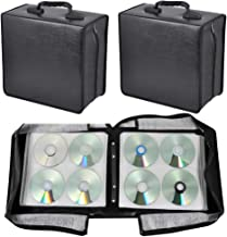 go2buy 2 Set 400 Capacity CD/DVD Media Carrying Case Heavy Duty DVD Wallet Binder Organizer with Attached Handle - Black