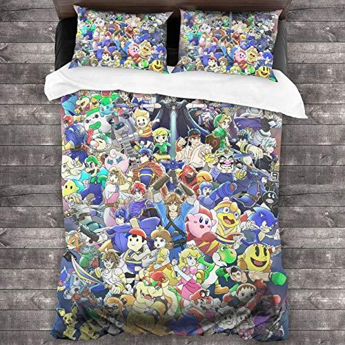 GmCslve Legend Zelda Mario Bedding Collection Juego de cama de lujo de 3 piezas, microfibra ultra suave, 86 x 177,8 cm, cómodo con dos fundas de almohada