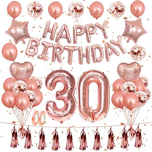30 Años Globos de Cumpleaños Decoraciones, Fiesta de Cumpleaños de oro Rosa Adorno Decoraciones para Fiesta de Feliz Cumpleaños Suministros de Fiesta de oro Banner de Feliz Cumpleaños Confeti Globo