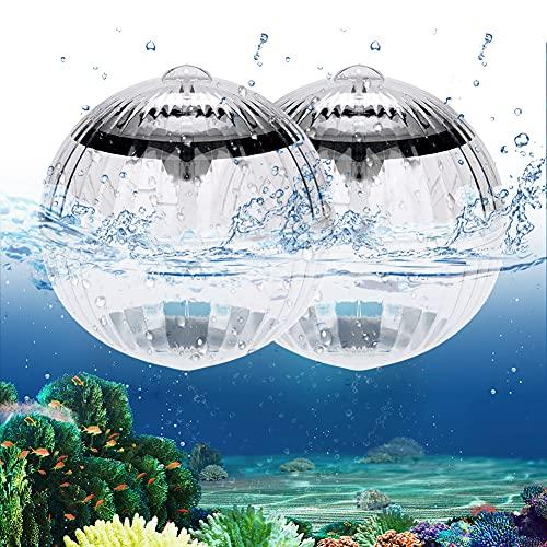 Yuragim Luci Piscina Solare, Luci Galleggianti Solar, Impermeabile LED Sommergibili Luci Piscina Solare Colore Cambiando Luce Galleggiante per Piscina/Fish Tank/Giardin/Laghetto/Vasca/Partito (2 pack)