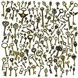 130 piezas Llaves esqueléticas de la vendimia de bronce antiguo colgantes del collar de DIY que...