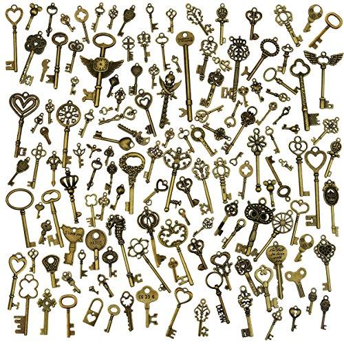 130 Stücke antike bronze vintage skeleton Schlüssel DIY Halskette Anhänger Machen Lieferungen für Hochzeit Dekoration Favor Oder Parteien