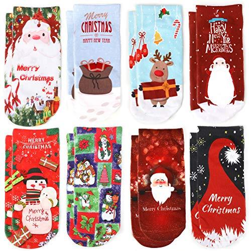 HOWAF 8 Paar Unisex Weihnachtssocken Damen Mädchen Jungen Söcken Winter Warme Baumwolle Socken Elastisch Sport Socken Weihnachts Geschenk